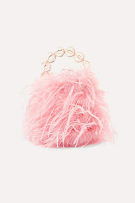 Vanina - Inagua Faux Pearl And Feather Tote - Pink