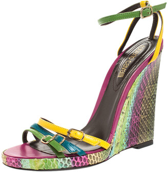 Roberto Cavalli Multicolor Leather And Python Wedge Strappy Sandals Size 37