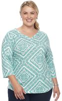 Croft & Barrow Plus size Solid V-neck Tee