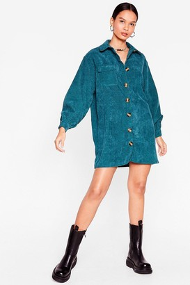 Nasty Gal Womens The Easy Way Out Corduroy Shirt Dress - Teal