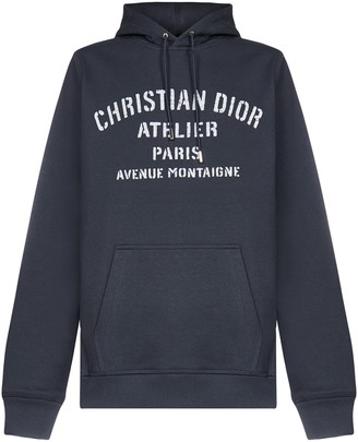 Dior Homme Logo Print Oversized Hooded Sweatshirt