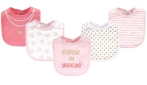 Little Treasure Cotton Drooler Bibs, 5 Pack, Sparkling