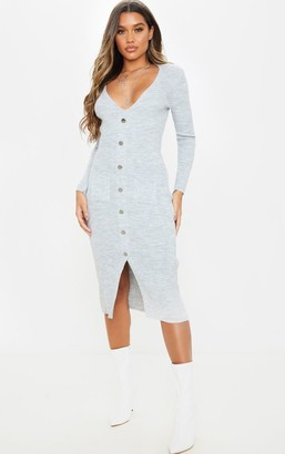 Mega Light Grey Button Front Knitted Midi Dress