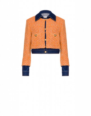 Moschino Cropped Boucle And Denim Jacket