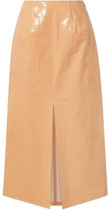 Sally LaPointe Coated Linen-blend Midi Skirt