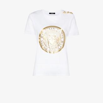 Balmain Gold Logo Print Cotton T-Shirt