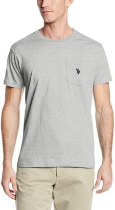 U.S. Polo Assn. Men's Crew Neck Pocket T-Shirt with Small Pony Heather Light Gray Small