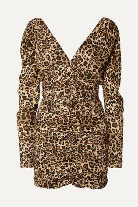 Nicholas Ruched Leopard-print Silk-crepe Mini Dress - Leopard print