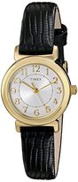 "Timex Women's T2P4309J ""Main Street Modern Minis"" Gold-Tone Watch with Black Genuine Leather Band"