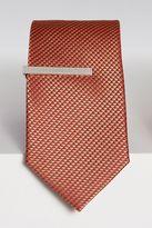 Next Orange Textured Tie And Tie Clip