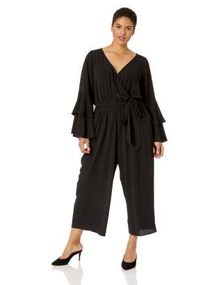 City Chic Women's Apparel Women's Plus Size Long Sleeved Detailed Solid Cropped Jumpsuit