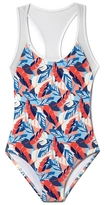 Vince Camuto Printed Mesh-detail One-piece Swimsuit