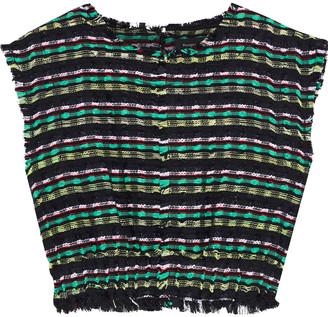 Proenza Schouler Cropped Frayed Tweed Top