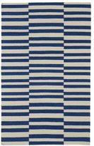 Tribeca Flatweave Blue Stripes Wool Rug (5' x 8')