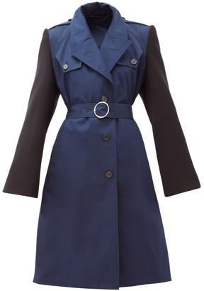 Maison Margiela Belted Cotton-gabardine Trench Coat - Blue Multi