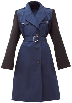 Maison Margiela Belted Cotton-gabardine Trench Coat - Womens - Blue Multi