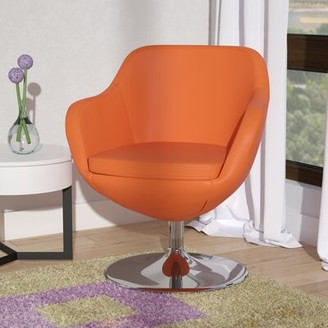 Wade Logan Wharton Swivel Armchair Upholstery: Orange