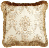 """Isabella Collection Catania Pillow with Embroidered Sheer Overlay, 20""""Sq."""