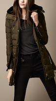 Burberry Fur Trim Belted Puffer Coat