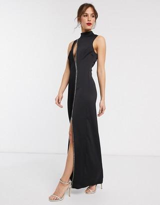 Asos Design DESIGN maxi dress with slash bodice detail and embellishment-Black