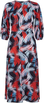 Traffic People Graphic Printed Midi Drap Dress In Red And Black