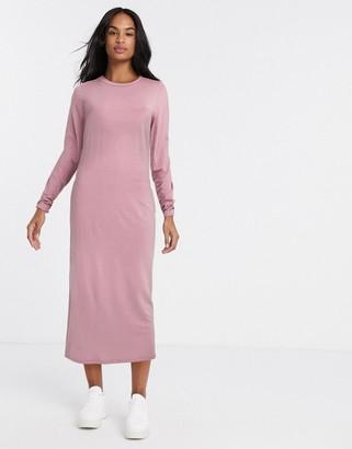 ASOS DESIGN long sleeve maxi t-shirt dress in dusky pink