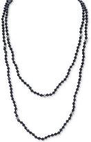 Lauren Ralph Lauren Silver-Tone Hide and Chic Black Bead Two-Row Necklace