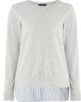 Dorothy Perkins Womens **Tall Grey Stripe 2-in-1 Sweat Top- Grey