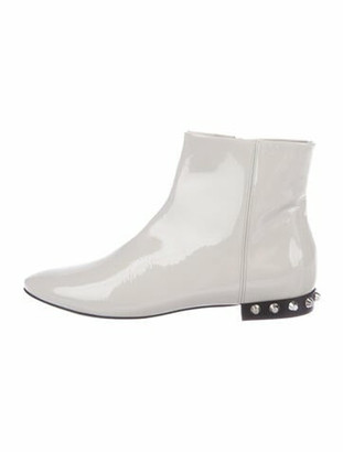 Balenciaga Patent Leather Studded Accents Boots Grey