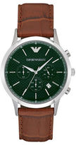 Emporio Armani Stainless Steel Brown Leather Strap Chronograph, AR2493
