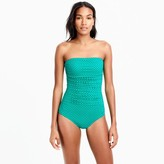 J.Crew Ruched bandeau one-piece swimsuit in dot