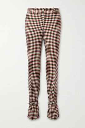 J.W.Anderson Bow-embellished Checked Wool Straight-leg Pants - Red