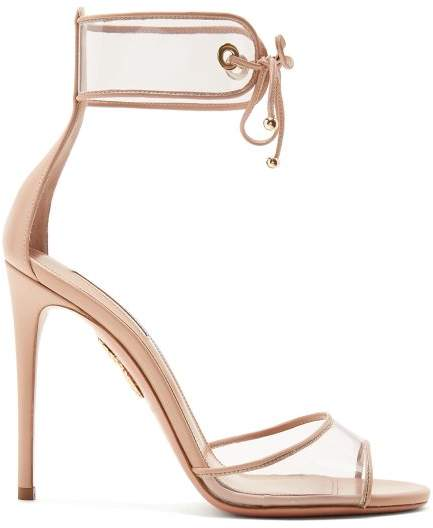 Aquazzura Optic 105 Leather Sandals - Womens - Nude