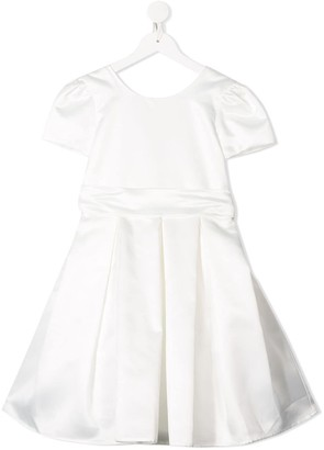 Piccola Ludo Pleated Skirt Bow Detail Dress