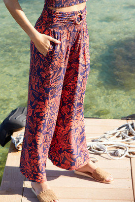 Patrons Of Peace Floral Print Wide Leg Pant Red Multi XS