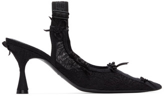Balenciaga Black Lingerie Slingback Heels