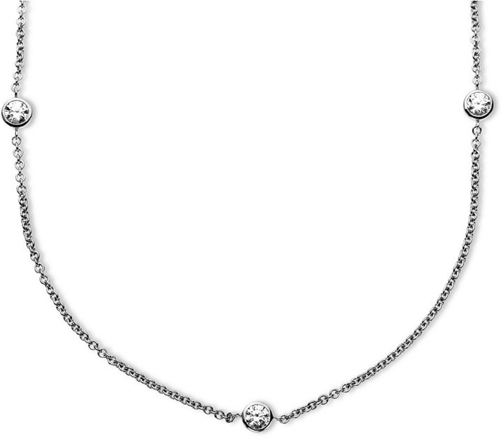 Arabella Sterling Silver Necklace, Swarovski Zirconia 11 Station Necklace (4-9/10 ct. t.w.)