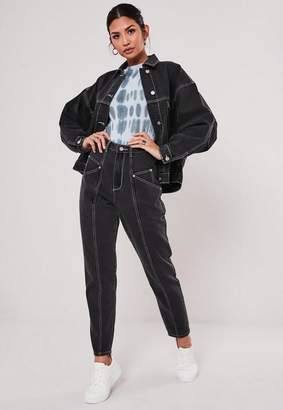 Missguided Black Co Ord Black Contrast Stitch Jeans