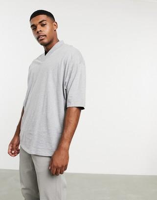 ASOS DESIGN oversized t-shirt with v neck in grey marl