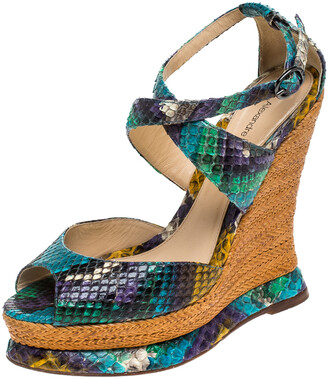 Alexandre Birman Multicolor Python Leather Wedge Platform Ankle Strap Sandals Size 37