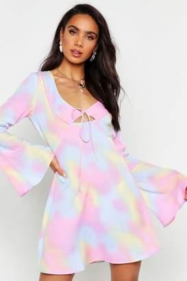 boohoo Tie Dye Flute Sleeve Dress