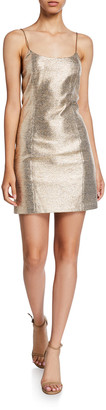 Alice + Olivia Nelle Metallic Spaghetti-Strap Mini Dress