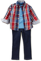 Nautica Little Boys 2T-4T Plaid Woven Shirt, Knit Tee & Woven Pant Set