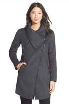 Mackage Genuine Leather Trim Draped Collar Wool Blend Coat