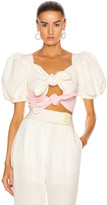 Marianna Senchina SENCHINA Signature Double Bow Top in Pistachio & Baby Pink | FWRD