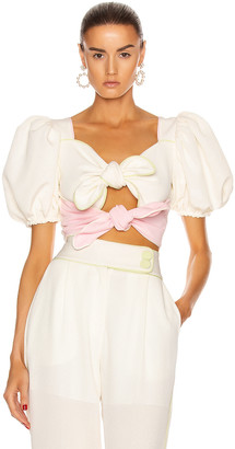 Marianna SENCHINA Signature Double Bow Top in Pistachio & Baby Pink   FWRD