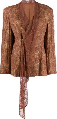 Yohji Yamamoto Pre-Owned lace overlay wrap jacket