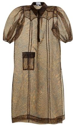 Ganni Tiger-print Organza Dress - Brown