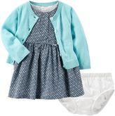 Carter's Baby Girl Print Dress, Cardigan & Bloomers Set