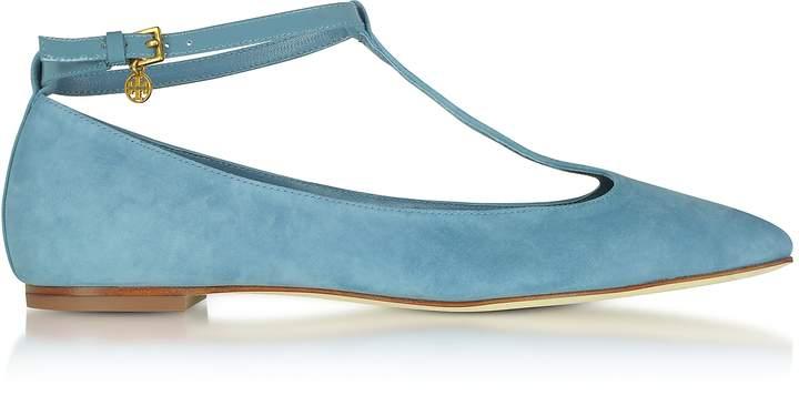 Tory Burch Blue Yonder Suede Ashton T-Strap Flat Ballerina